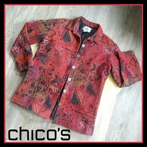 🆕 Chico's Beaded w/Tapestry Blazer Jacket